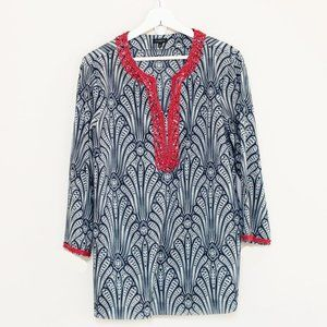 Talbots Paisley Embellished Neckline Coverup Tunic